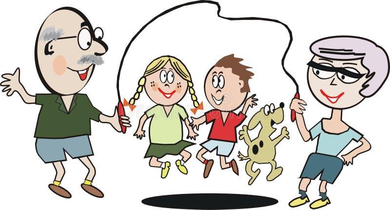 Historieta del ejercicio de la familia ilustración del vector