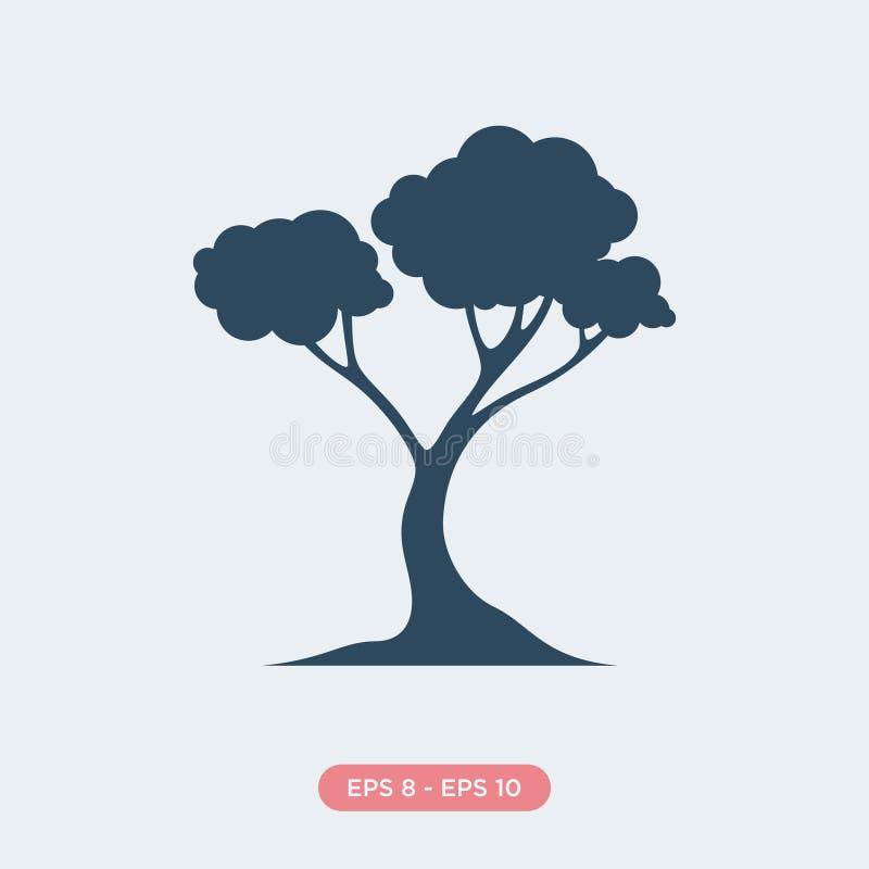 Historieta del elemento azul del diseño del vector de la silueta del icono del árbol stock de ilustración