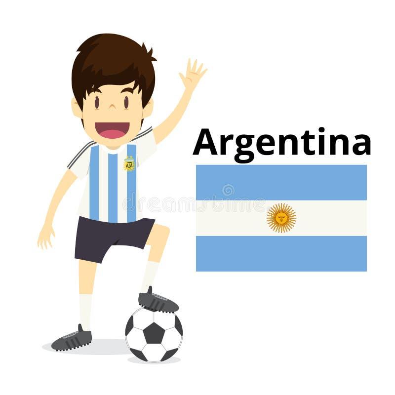 Historieta del equipo nacional de la Argentina, mundo del fútbol, banderas de país 20 ilustración del vector