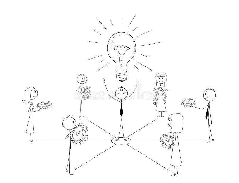 Historieta del equipo y del líder Working Togeth del negocio stock de ilustración