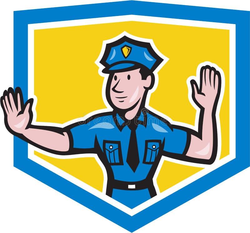 Historieta del escudo de la señal de mano de la parada del policía de tráfico stock de ilustración