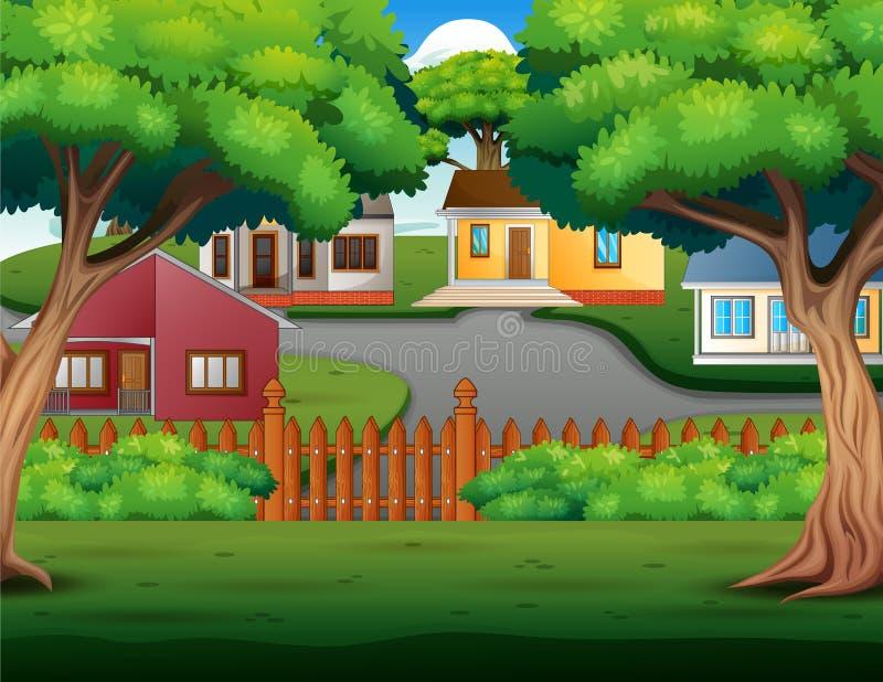 Historieta del fondo con las casas de campo acogedoras hermosas stock de ilustración