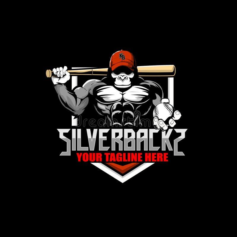 Historieta del gorila con la plantilla del logotipo de la insignia del vector del béisbol del sombrero y del palo ilustración del vector