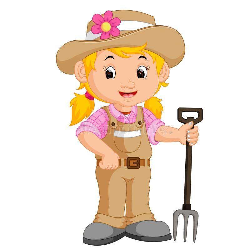 Historieta del granjero de la muchacha stock de ilustración