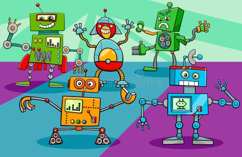 Historieta del grupo de los caracteres del robot del baile libre illustration