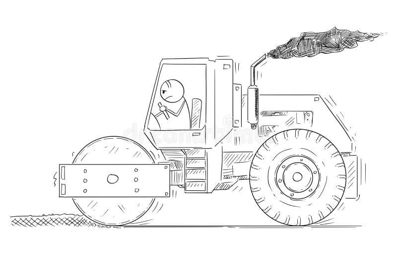 Historieta del hombre cansado que conduce o que trabaja con el rodillo de camino libre illustration