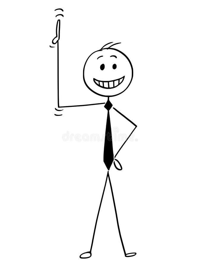 Historieta del hombre de negocios feliz Pointing His Hand o del pulgar para arriba libre illustration