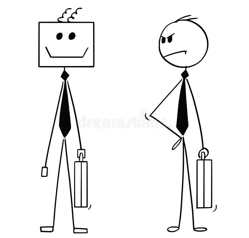 Historieta del hombre de negocios Looking Unhappy en su reemplazo robótico de la inteligencia artificial o del robot del AI coleg libre illustration