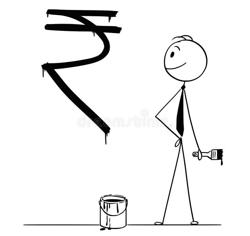 Historieta del hombre de negocios With Paint Can y del símbolo del cepillo y de la rupia india pintado en la pared libre illustration