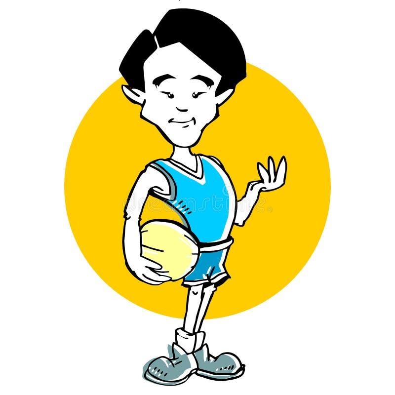 Historieta del hombre del asiático del baloncesto ilustración del vector