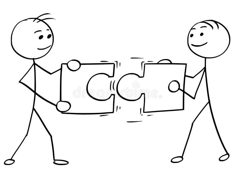Historieta del hombre del palillo del vector de dos hombres que sostienen un rompecabezas grande libre illustration