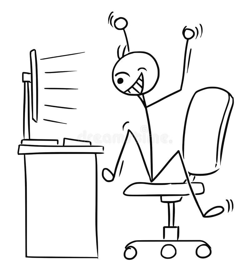 Historieta del hombre del palillo del vector del SCR de observación del ordenador del hombre muy feliz ilustración del vector