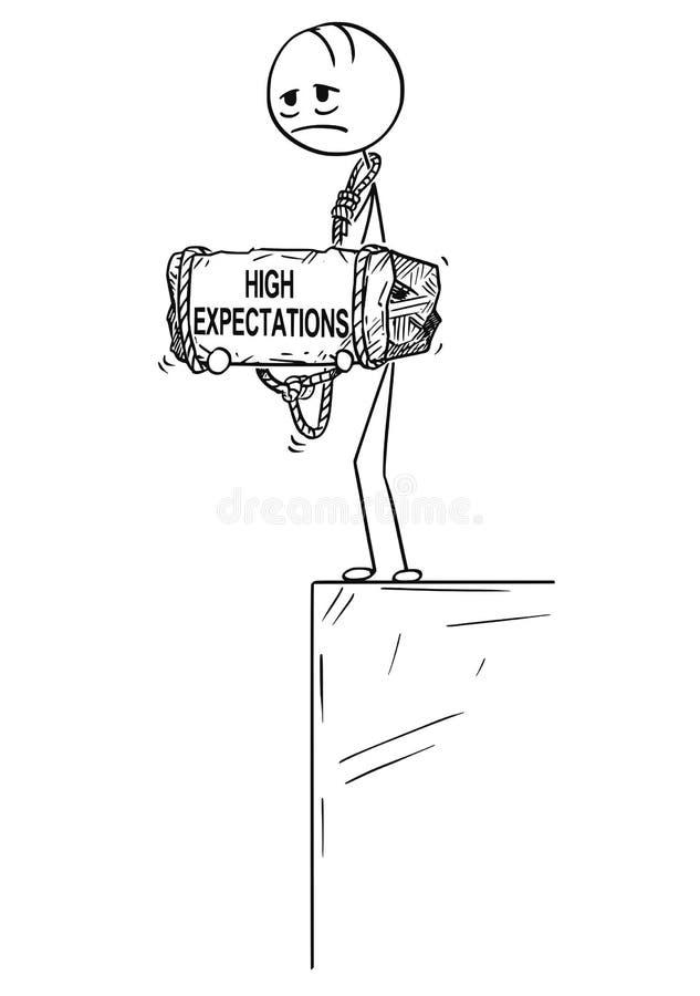 Historieta del hombre deprimido que se coloca en el borde que se sostiene de piedra con el texto de los grandes expectativas atad stock de ilustración