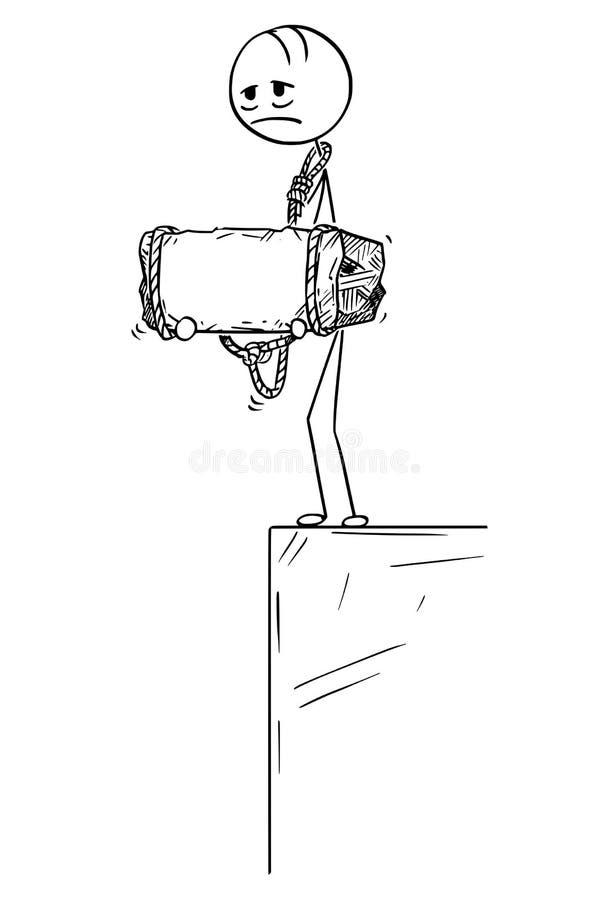 Historieta del hombre deprimido que se coloca en el borde que sostiene la piedra atada a su cuello stock de ilustración