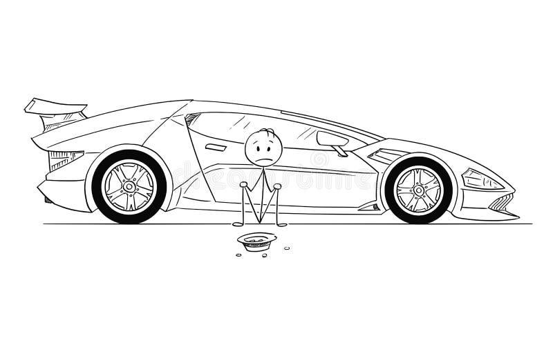 Historieta del hombre, dueño de coche deportivo costoso, sentándose y pidiendo dinero del gas stock de ilustración
