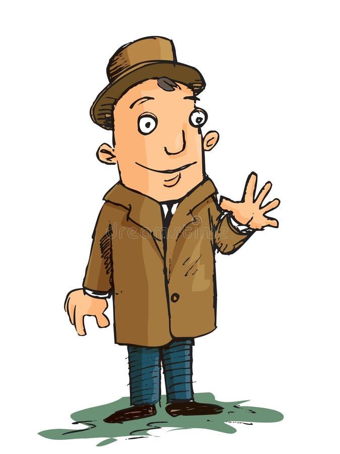 Historieta del hombre en agitar de la capa y del sombrero ilustración del vector