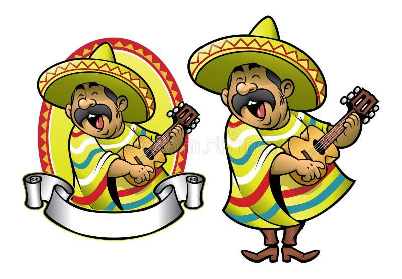 Historieta del hombre mexicano que toca la guitarra y que canta stock de ilustración