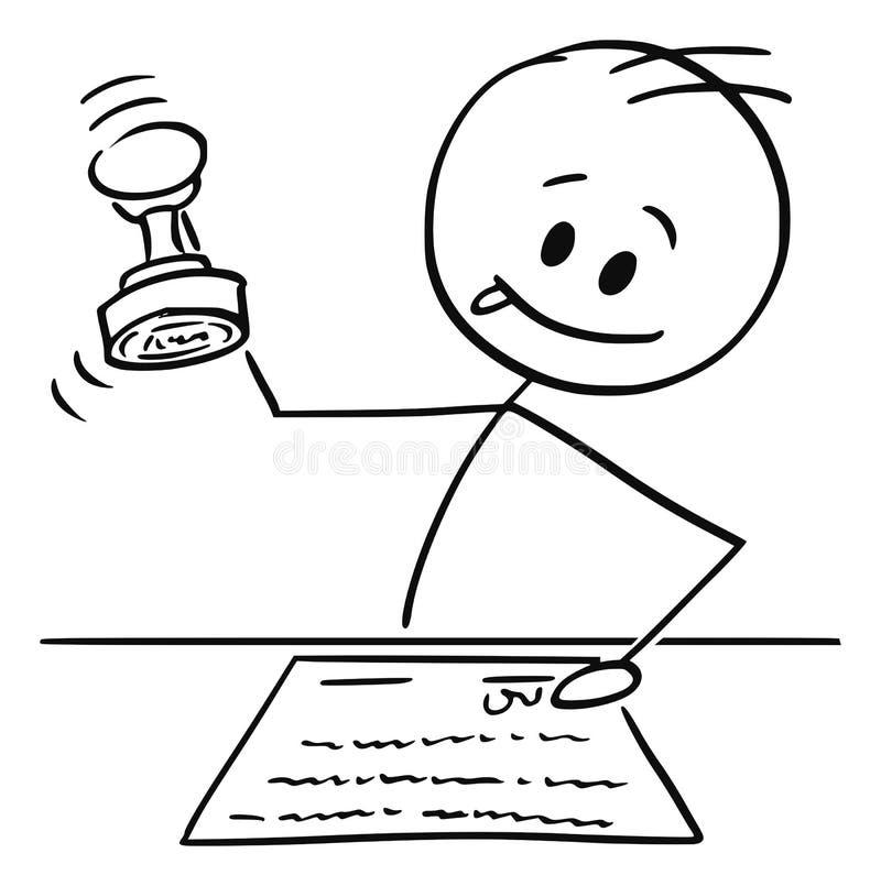 Historieta del hombre, del notario o del trabajador no manual sellando un documento con el sello de goma stock de ilustración