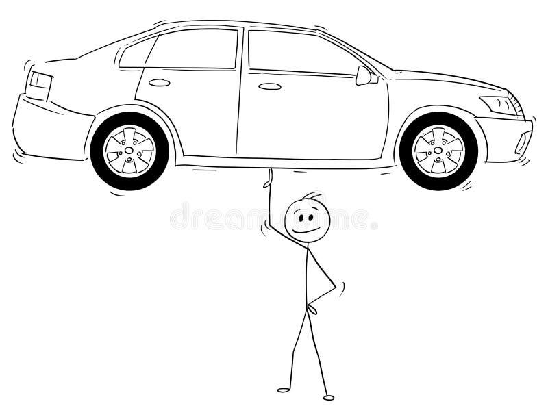 Historieta del hombre o del hombre de negocios Balancing Car en un finger ilustración del vector