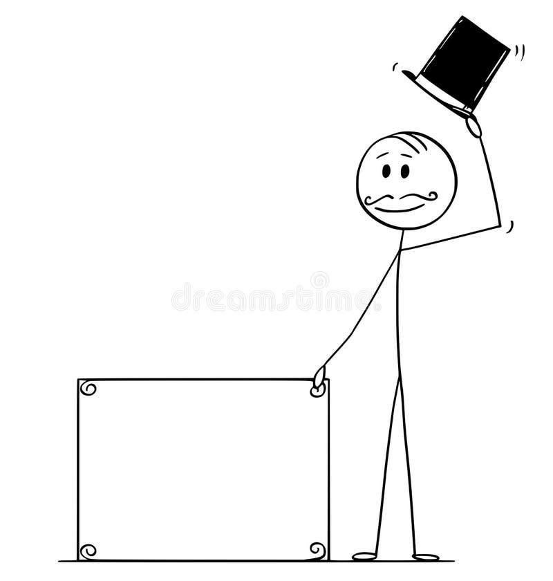 Historieta del hombre o del hombre de negocios o caballero con el bigote, muestra vacía de la tenencia retra del sombrero de copa stock de ilustración