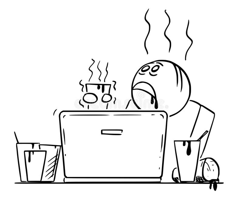 Historieta del hombre o del hombre de negocios cansado y con exceso de trabajo y cafeína Overdosed Working en el ordenador portát libre illustration