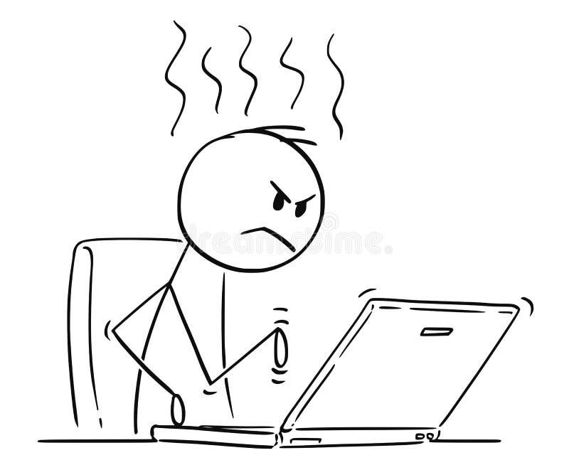 Historieta del hombre o del hombre de negocios enojado Working o el mecanografiar en el ordenador portátil del ordenador libre illustration