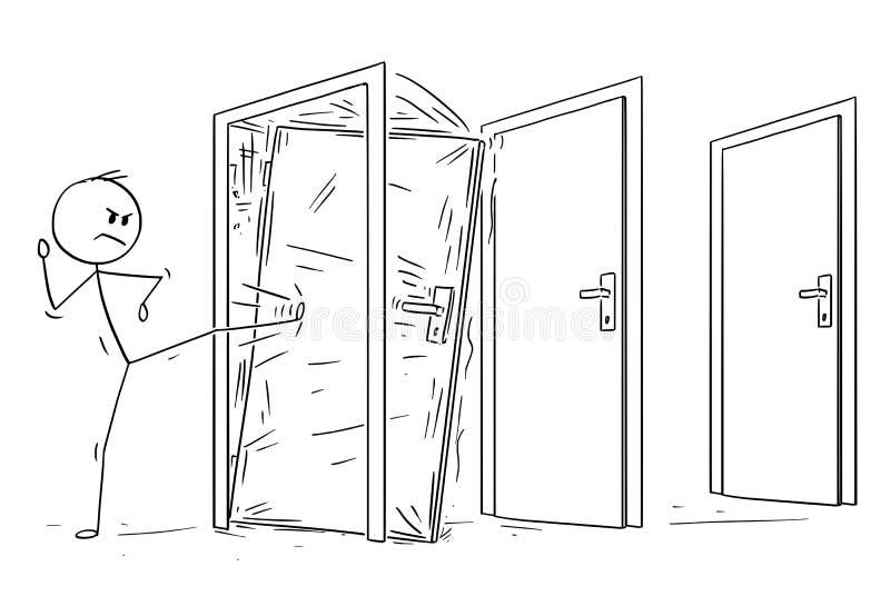 Historieta del hombre o del hombre de negocios Kicking la puerta bloqueada ilustración del vector
