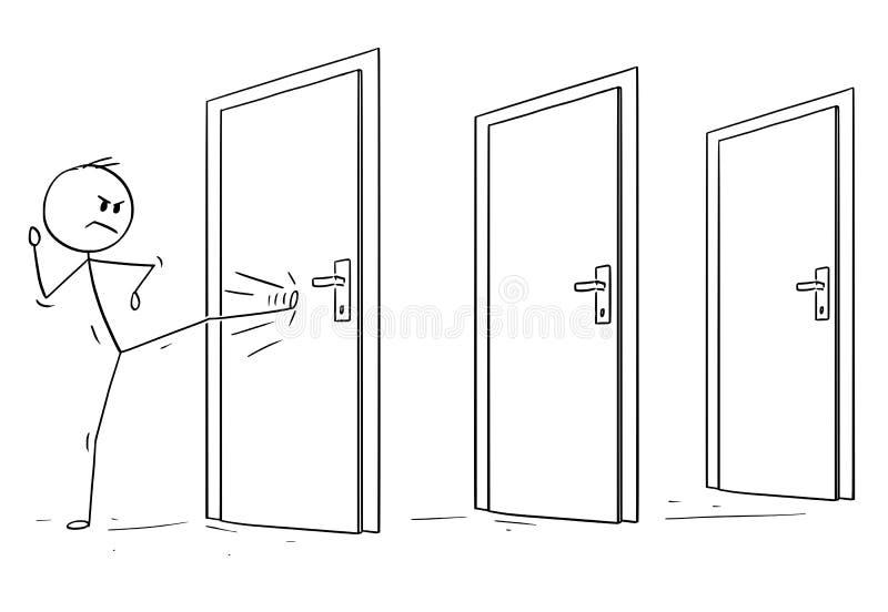 Historieta del hombre o del hombre de negocios Kicking la puerta bloqueada libre illustration