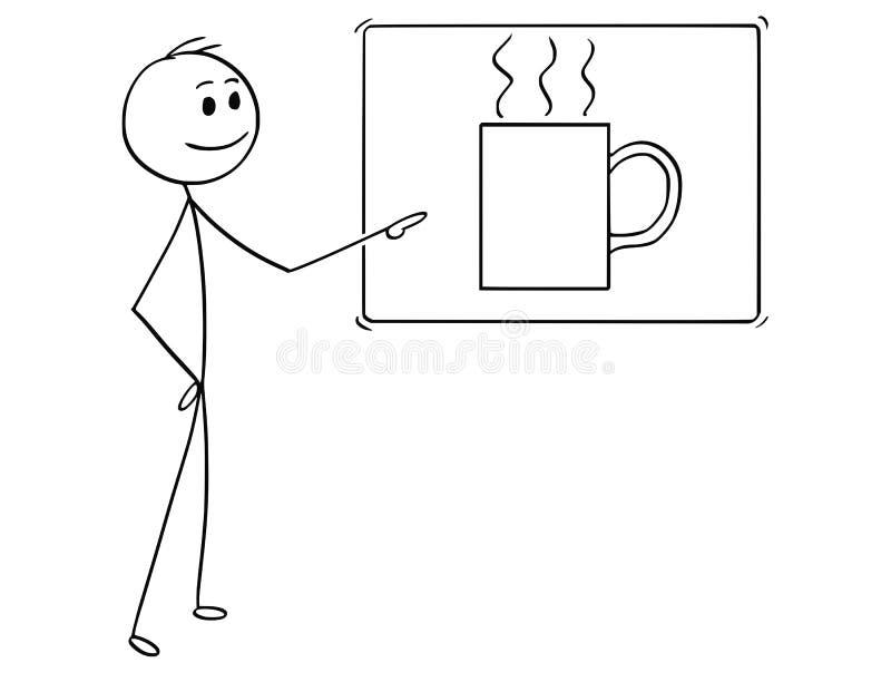 Historieta del hombre o del hombre de negocios Pointing en la muestra de la taza de café ilustración del vector
