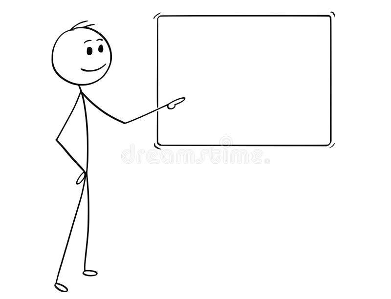 Historieta del hombre o del hombre de negocios Pointing en la muestra vacía libre illustration