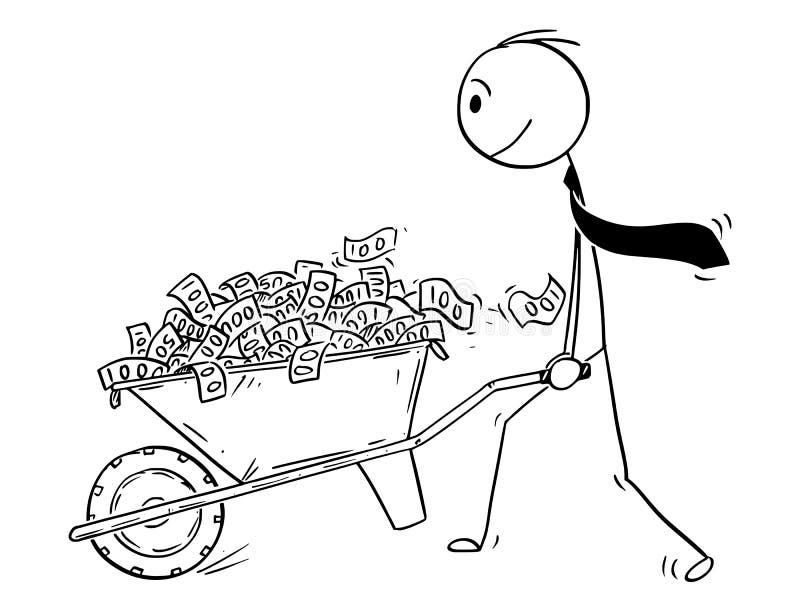 Historieta del hombre o del hombre de negocios o político Pushing Wheelbarrow Full del dinero o de los billetes de banco ilustración del vector