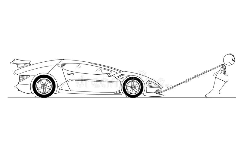 Historieta del hombre o del hombre de negocios Pulling Broken o fuera del coche deportivo lujoso costoso del gas ilustración del vector