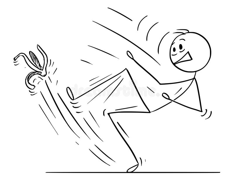 Historieta del hombre o del hombre de negocios Slipping en la cáscara del plátano stock de ilustración