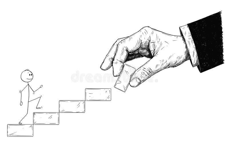 Historieta del hombre o del hombre de negocios Walking Up las escaleras y la mano grande que construyen la escalera para él stock de ilustración