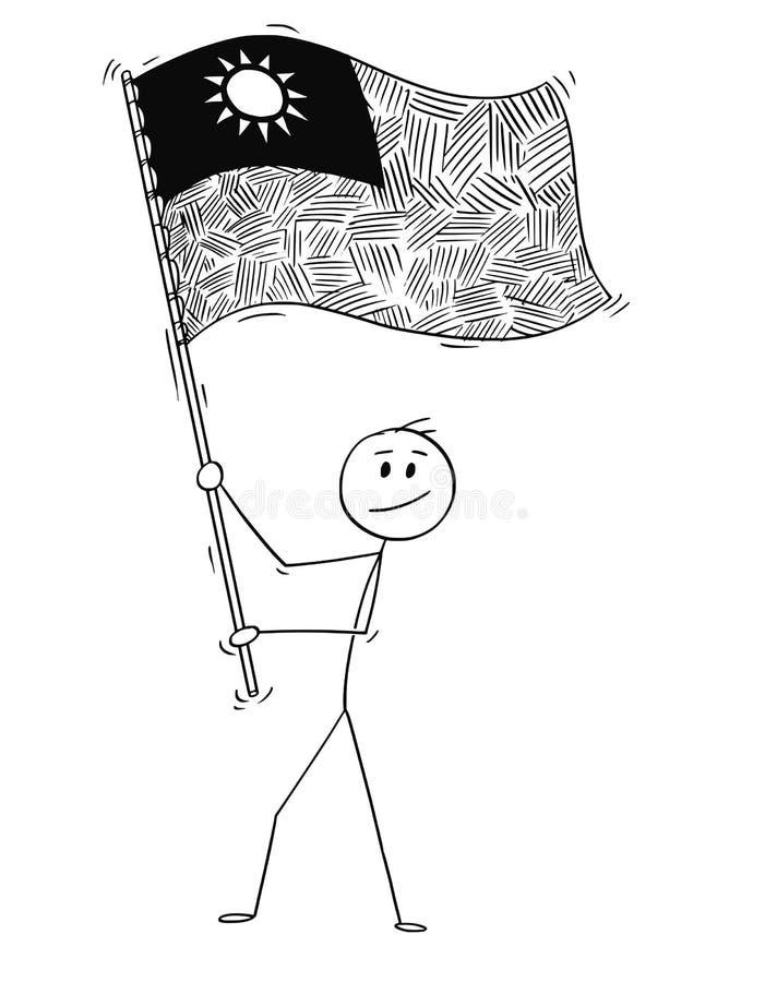 Historieta del hombre que agita la bandera de la República de China o de Taiwán ilustración del vector