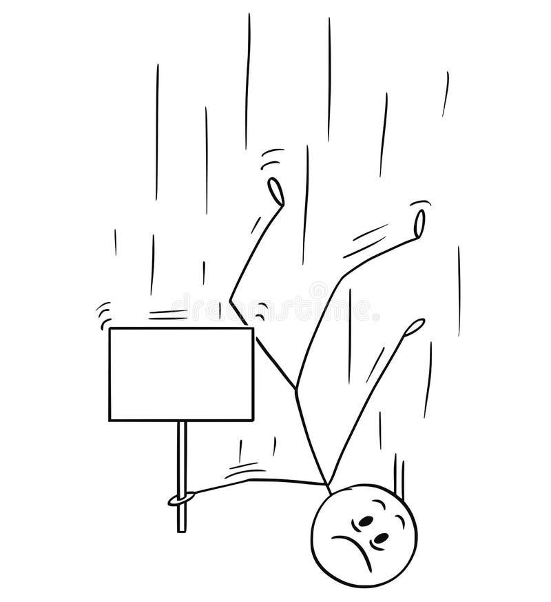 Historieta del hombre que cae abajo y que lleva a cabo la muestra vacía libre illustration