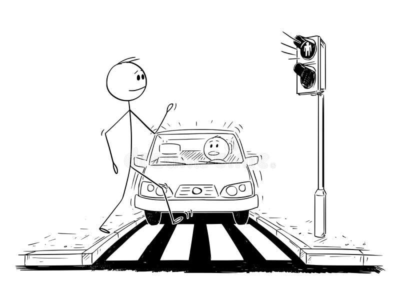 Historieta del hombre que camina en paso de peatones mientras que la luz roja en luces de parada y el coche está consiguiendo más stock de ilustración