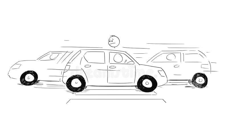 Historieta del hombre que espera en el paso de peatones o el paso de peatones y que mira los coches que se mueven en el camino y  ilustración del vector