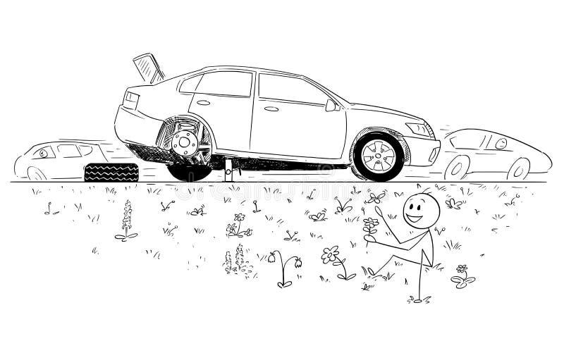 Historieta del hombre que repara el coche roto y que funda la belleza de la naturaleza en zanja del camino ilustración del vector