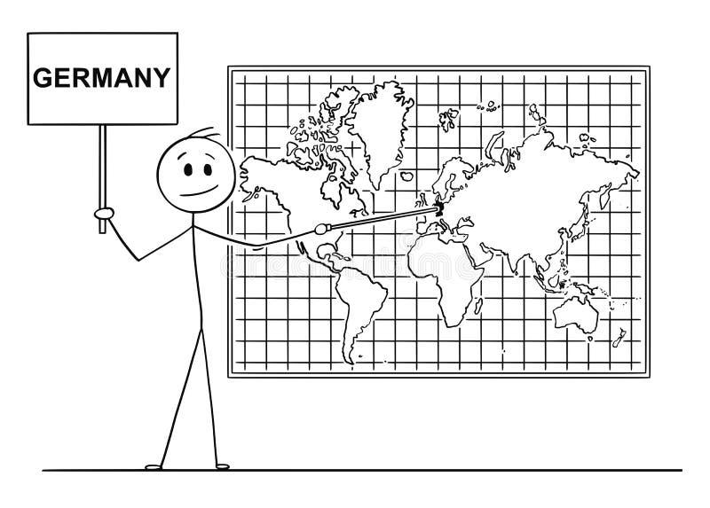 Historieta del hombre que señala en Alemania en mapa del mundo de la pared ilustración del vector