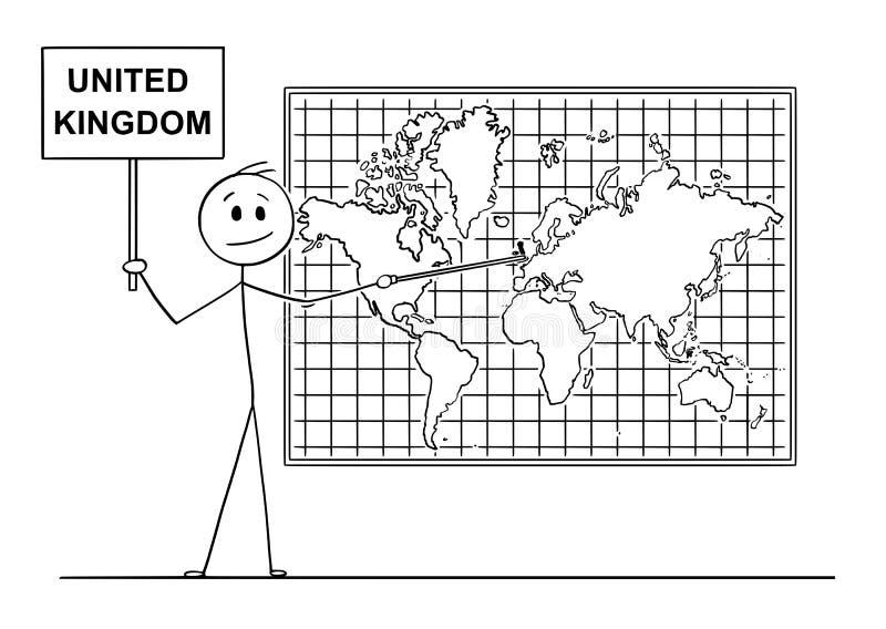 Historieta del hombre que señala en Inglaterra o Gran Bretaña o Reino Unido en mapa del mundo de la pared stock de ilustración