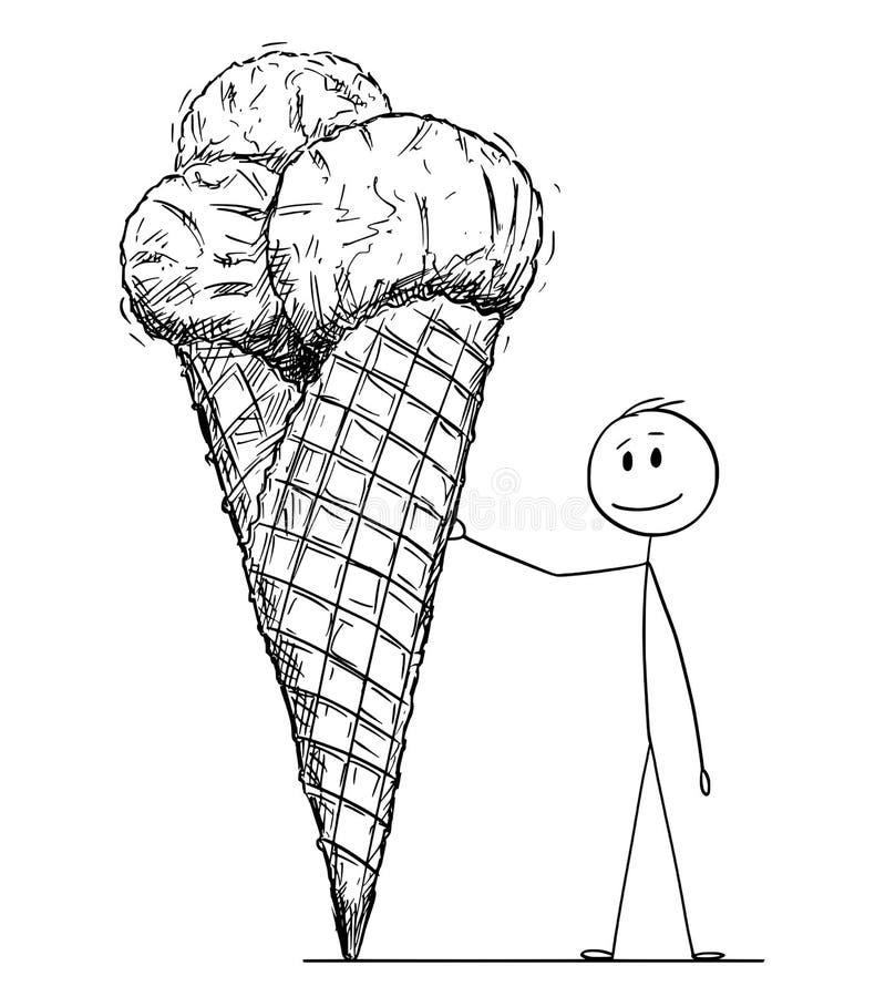 Historieta del hombre que se inclina en el cono grande del helado o del helado ilustración del vector