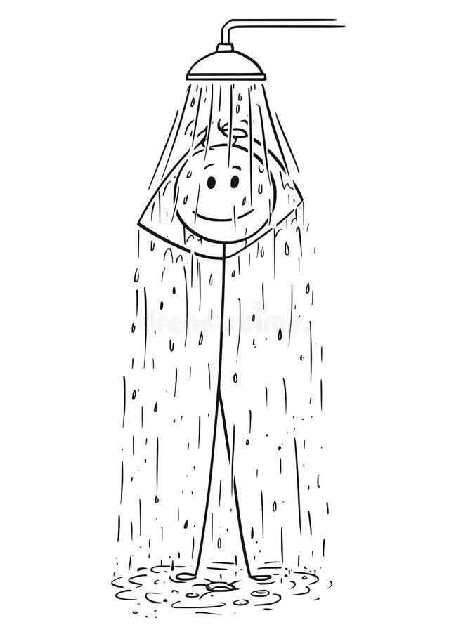 Historieta del hombre que toma una ducha ilustración del vector