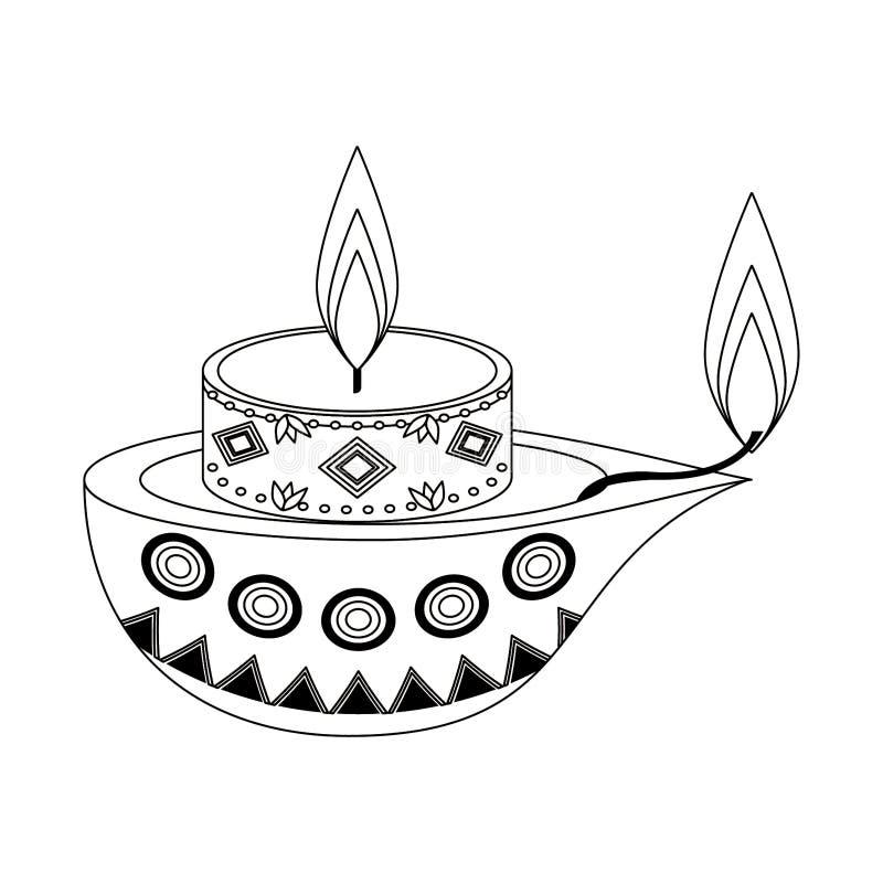 Historieta del icono de la vela del Lit aislada en blanco y negro libre illustration