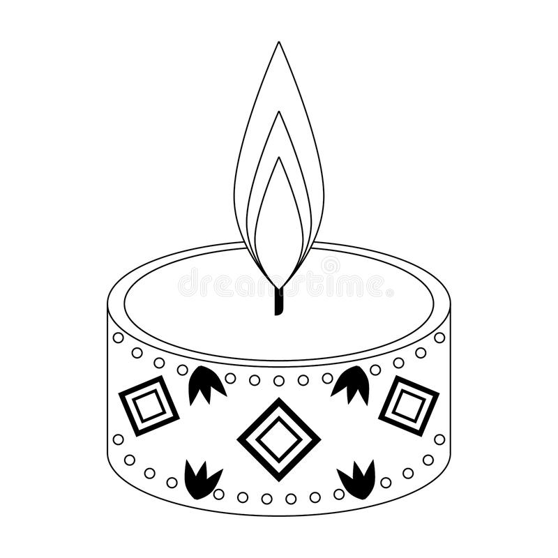 Historieta del icono de la vela del Lit aislada en blanco y negro ilustración del vector