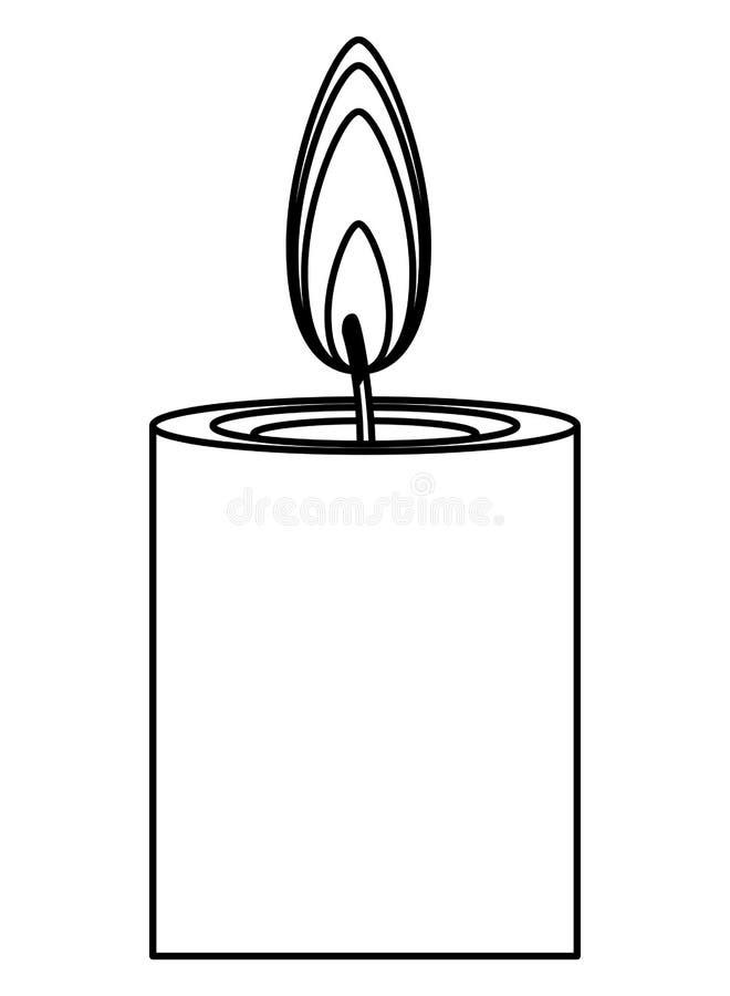 Historieta del icono de la vela del Lit aislada en blanco y negro stock de ilustración