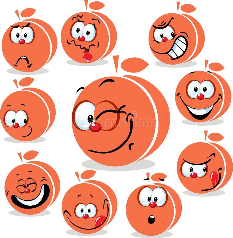 Historieta del icono del melocotón o del albaricoque con las caras divertidas stock de ilustración