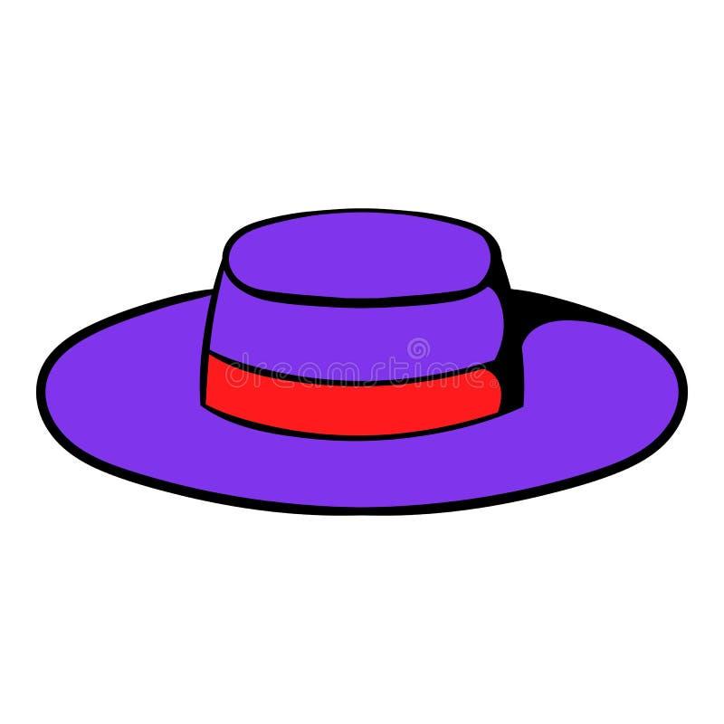 Historieta del icono del sombrero del sombrero ilustración del vector