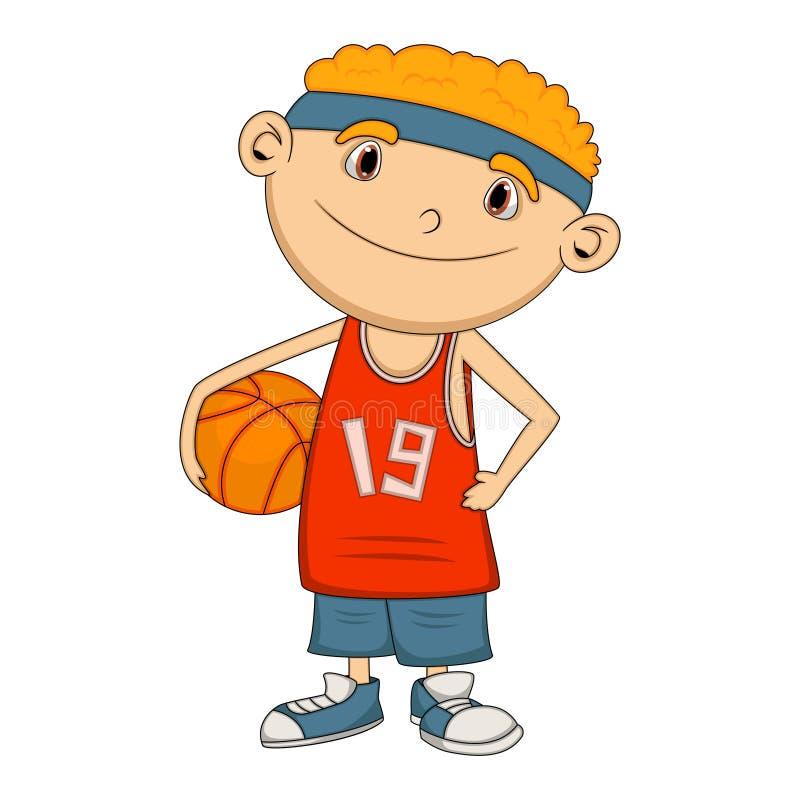 Historieta del jugador de básquet del muchacho ilustración del vector