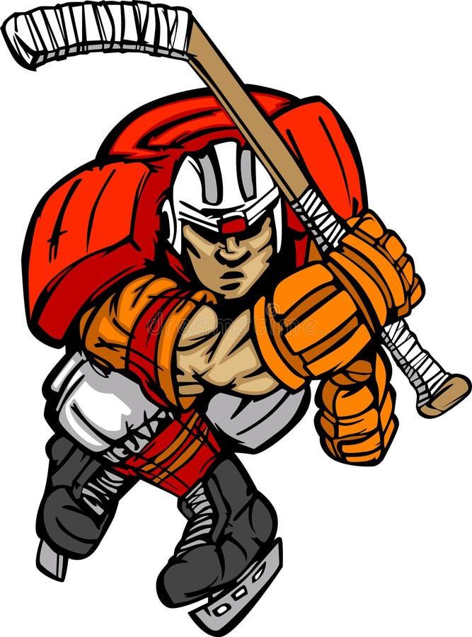 Historieta del jugador de hockey ilustración del vector